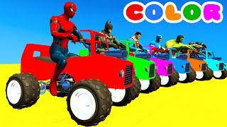 Video LEARN COLOR with ATV on BUS & Spiderman Cartoon for Kids w Cars Superheroes for babies! MP3, 3GP, MP4, WEBM, AVI, FLV Mei 2017