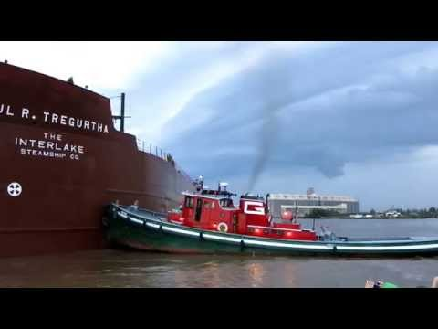 ship runs aground - The Paul R. Tregurtha of The Interlake Steamship Company ran aground in the mud just off the shore of Bayfront Festival Park around 3:15 p.m. on Saturday, Se...