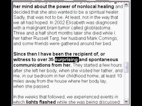 Afterlife proof from Russel Targs deceased Daughter Elisabeth