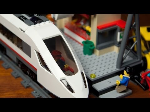 Lego High Speed Passenger Train 60051 with Train Station 60050 [Unboxing - Build - Review]
