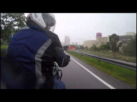 Motorcycle ride in the rain
