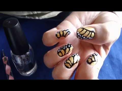 Decorados de uñas - decorado de uñas ala de mariposa