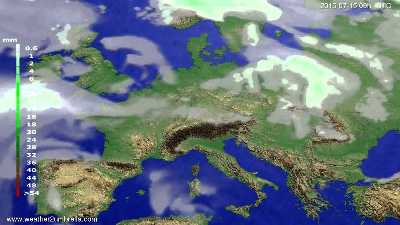 Precipitation forecast Europe 2015-07-11