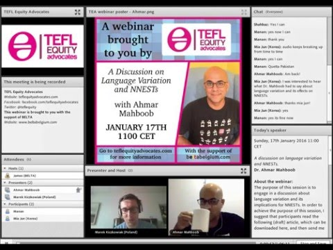 'A discussion on language variation and NNESTs' - webinar by Ahmar Mahboob