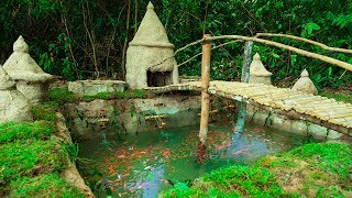 Building most beautiful fishpond with Four bamboo waterwheel producing oxygen to red fish
