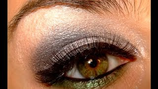Smokey Silver&Green Make up look