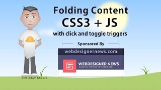 Folding Content Nav Menu CSS3 Animation JavaScript Tutorial