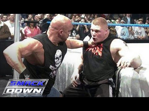 """""""Stone Cold"""" Steve Austin confronts Brock Lesnar days before WrestleMania: SmackDown, March 11, 2004"""
