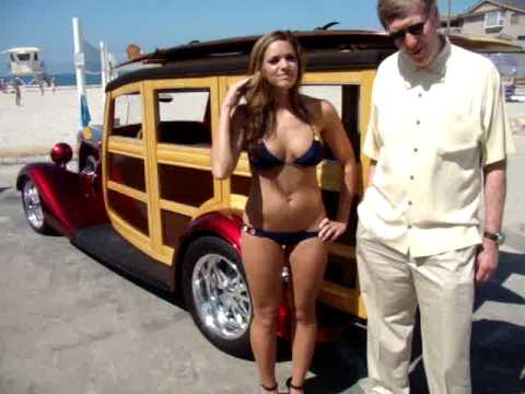 1934 Ford Woodie Hot Rod with Swimsuit Bikini Model Melany
