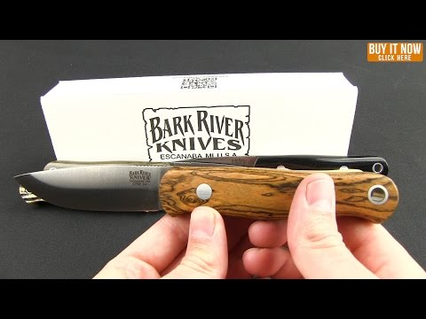 "Bark River Bushcrafter Knife Jimped / Antique Stag Bone (3.875"" Satin)"