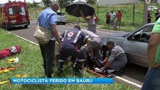 Acidente em avenida de Bauru deixa motociclista ferido