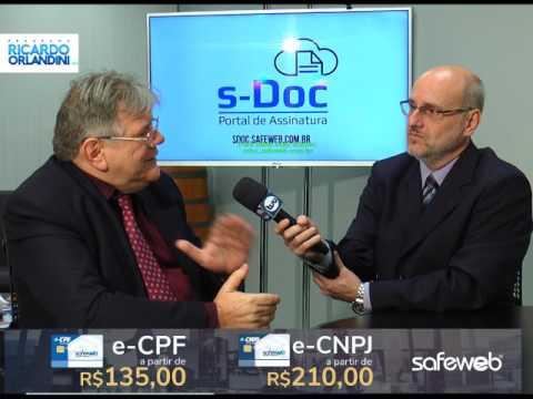 Programa de estreia na TVU de Porto Alegre onde Ricardo Orlandini entrevista Luiz Carlos Zancanella diretor presidente da Safeweb