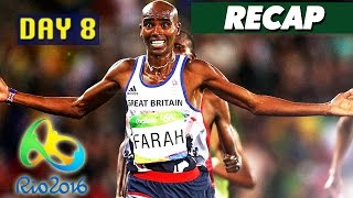 Rio Olympics 2016 highlights, results, best moments, Mo Farah fall and Monica Puig! Day 8 of the Rio Olympics 2016 has finished, so I am again simplifying the hours upon hours of sports shown on TV today to a short video featuring the highlights, gold medal winners, and world records broken, if any.This is a video for the Rio Olympics on August 13, 2016, and I'll be doing a new compilation video every day until the Olympics are over on August 21st. Make sure to subscribe to Culture Vulture for more videos:https://www.youtube.com/c/culturevultureHighlights:Mahe Drysdale wins a gold medal in sculls, beating his opponent by a literal fraction of a secondMonica Puig vs Angelique Kerber results in Monica winning the first gold medal for Puerto Rico in women's tennisMo Farah falls to the ground, gets up, and still wins a gold medal in men's 10,000m runningMichael Phelps retires after winning his 23rd gold medal, and his 5th gold medal at Rio 2016Gold medal winners:Christoph Harting of Germany wins Gold in men's disqus throwGreat Britain wins Gold in women's team pursuit cyclingElis Ligtlee of Netherlands wins Gold in women's keirin cyclingRussian Federation wins Gold in women's team sabre fencingMahe Drysdale of New Zealand wins Gold in men's single scullsKimberly Brennan of Australia wins Gold in women's single scullsUSA wins Gold in women's eight rowingGreat Britain wins Gold in men's eight rowingChristian Reitz of Germany wins Gold in men's 25m rapid fire pistol shootingGabriele Rossetti of Italy wins Gold in men's skeet shootingMonica Puig of Puerto Rico wins Gold in women's tennis singlesUladzislau Hancharou of Belarus wins Gold in men's trampoline gymnasticsSohrab Moradi of Iran wins Gold in men's 94kg weightliftingJeff Henderson of USA wins Gold in men's long jumpMohamed Farah of Great Britain wins Gold in men's 10,000m runningElaine Thompson of Jamaica wins Gold in women's 100m racePernille Blume of Denmark wins Gold in women's 50m freestyleGregorio Paltrinieri of
