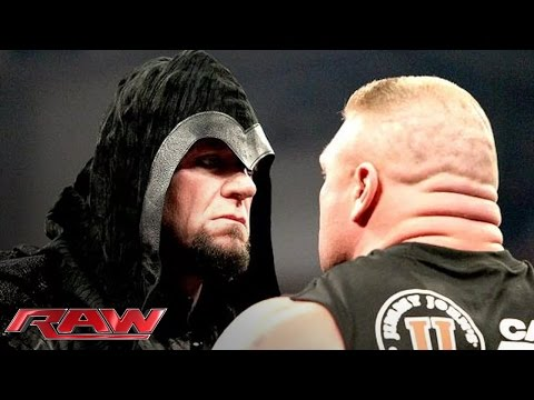 raw - Brock Lesnar becomes the victim of a chokeslam from the returning Undertaker. http://www.wwe.com/wwenetwork.