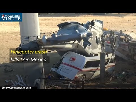A military helicopter carrying top Mexican officials crashed, killing at least 13 people and injuring 15