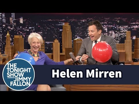 Helen Mirren being absolutely adorable while Jimmy Fallon interviews her on helium