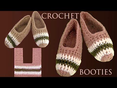 Zapatos a crochet tamaño adulto tejidos con ganchillo paso a paso en Punto elástico con diseños