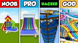 NOOB vs PRO vs HACKER vs GOD : SLIDE BUILD CHALLENGE in Minecraft! (Animation)