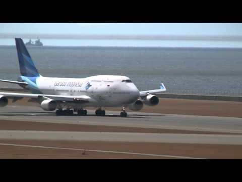 Garuda Indonesia Boeing 747-400 Landing & Take off at Nagoya (NGO)