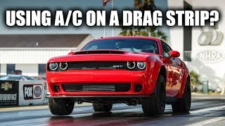 "How Does The Dodge Demon Power Chiller Work?How The Demon Hits 60 In 2.3 Sec - https://youtu.be/93MuL4lRrO8Subscribe for new videos every Wednesday! - https://goo.gl/VZstk7From The 2018 Dodge Demon Press Kit:""One key to the Challenger SRT Demon's best-ever power output is air – the supercharged Demon V-8 takes in plenty of it. The SRT Demon's Air-Grabber™ hood includes the largest functional hood scoop (45.2 square inches) of any production car. The Air-Grabber™ hood is sealed to the air box, which is also fed from the driver-side Air-Catcher™ headlamp and an inlet near the wheel liner. Combined, those sources give the Demon V-8 an air-flow rate of 1,150 cubic feet per minute, 18 percent greater than the Hellcat V-8 and the largest air induction volume of any production car. The additional air inlets help reduce the temperature of the intake air by more than 30 degrees Fahrenheit compared with the Hellcat V-8, which improves overall throttle response. Heat is the enemy of speed at the drag strip, so Dodge//SRT engineers looked for more ways to keep the intake air as close to the optimum temperature as possible. The innovative SRT Power Chiller™ is a production car first. It diverts the air-conditioning refrigerant from the SRT Demon's interior to a chiller unit mounted by the low-temperature circuit coolant pump. Charge air coolant, after being cooled by ambient air passing through a low-temperature radiator at the front of the vehicle, flows through the chiller unit, where it is further cooled. The chilled coolant then flows to the heat exchangers in the supercharger. Every run down the drag strip generates plenty of heat. The After-Run Chiller, a factory-production car first, helps the SRT Demon get ready for the next run as quickly as possible. When the engine is shut down, the After-Run Chiller keeps the engine cooling fan and low-temperature circuit coolant pump running to lower the supercharger/charge air cooler temperature, helping the Challenger SRT Demon minimize heat soak effects. The driver can track the supercharger coolant temperature on the 8.4-inch Uconnect touchscreen in the instrument panel, and know in real time when the supercharger is at the optimum temperature for another run. The impact of the SRT Power Chiller™ and After-Run Chiller, combined, lowers intake air temperature by up to 45 degrees Fahrenheit.""Don't forget to check out my other pages below!Facebook: http://www.facebook.com/engineeringexplainedOfficial Website: http://www.howdoesacarwork.comTwitter: http://www.twitter.com/jasonfenske13Instagram: http://www.instagram.com/engineeringexplainedCar Throttle: https://www.carthrottle.com/user/engineeringexplainedEE Extra: https://www.youtube.com/channel/UCsrY4q8xGPJQbQ8HPQZn6iANEW VIDEO EVERY WEDNESDAY!"