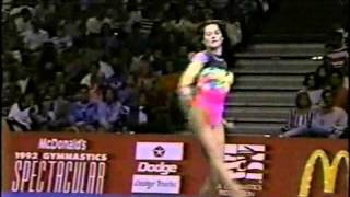Nadia Comaneci performs with future husband Bart Conner at the 1992 McDonald's Gymnastics Spectacular exhibition.