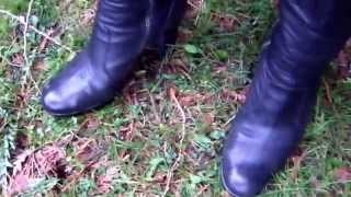 Taking a walk in wet leaves, grass and mud.  I luv the feeling and sounds of my heels crushing the leaves, weeds and sinking into the wet ground :)  Check my channel and I hope you enjoy all my boot videos.
