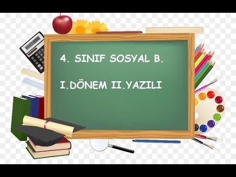4  Sınıf Sosyal Bilgiler 1  Dönem 2  Yazılı