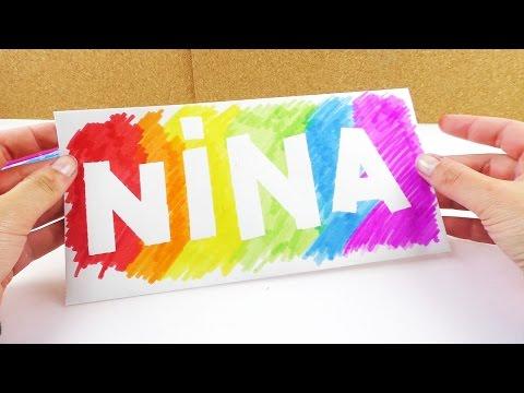 Cooles Namensschild in Regenbogen Farben | Deko Idee fürs Zimmer & Überraschung für Nina