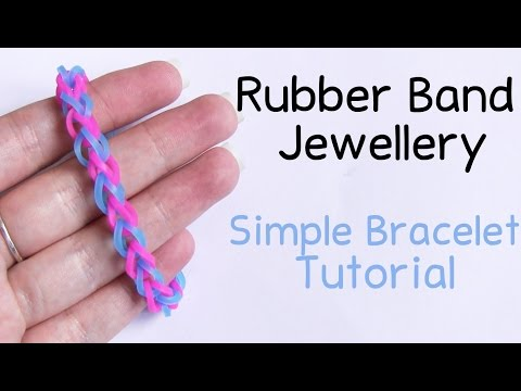 Simple Rubber Loom Band Bracelet Tutorial ● GIVEAWAY