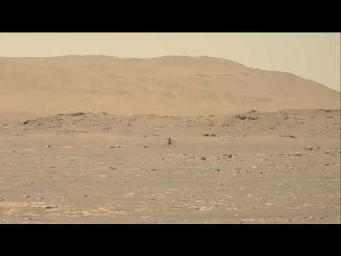 NASA's Ingenuity Mars Helicopter in Flight, Includes Takeoff