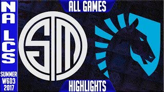 Team Solomid vs Team Liquid Highlights ALL GAMES - Week 6 NA LCS Summer 2017 - TSM vs TLNALCS teams: Dignitas, Fly Quest, TSM, EnVyUs, Phoenix 1, CLG, Liquid, Echo Fox, Immortals, Cloud9NA LCS Spring 2017 playlist: https://www.youtube.com/watch?v=6Nat_jBUPyE&list=PLJwuLHutaYuLhpm8EMj2AyWxhS4xEFKn4☻All games spoiler free with stats and infographs at Stage: https://stage.gg/► All other previous tournaments: http://bit.ly/1WBqwLzKazaLoLLCShighlights -  bringing you fast highlights of LCS, LCK, LPL and LMS League of Legends Esports Matches every day♡♡♡♡♡♡♡♡♡♡♡♡♡♡♡♡♡♡♡♡♡♡♡♡♡♡♡♡♡♡✉ Social media below - Follow for regular updatesⓕⓑ  KazaGamez  ►http://on.fb.me/1N5j0EHⓖ+                            ►http://bit.ly/1Bpjrbaⓣⓦⓘⓣⓣⓔⓡ      ►Twitter      -  http://bit.ly/1BkVAtGⓣⓦⓘⓣⓒⓗ          ►Livestream: http://bit.ly/1BpjzYdⓓⓞⓝⓐⓣⓔ          ►Paypal: http://bit.ly/1cBU6JnSubscribe: http://bit.ly/1oZa2wJ