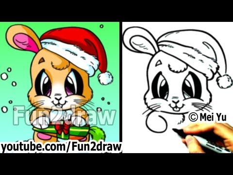 How to Draw Santa Bunny for Christmas (Real Time Drawing Tutorial) - Art Lessons - Fun2draw