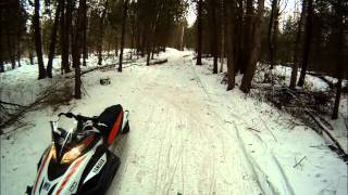 9. Snowmobile Smashes into Tree