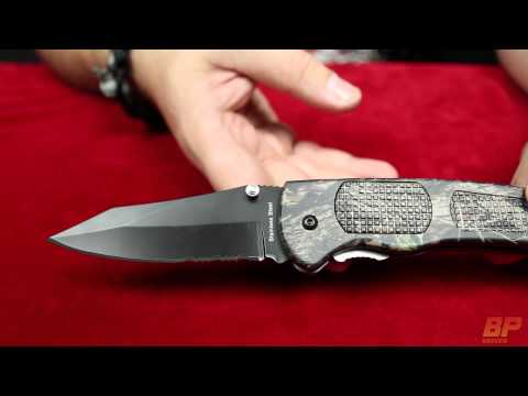 Hunter Dual Action Black/Silver Automatic Knife - Satin Serr