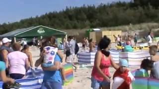 Dzik na plaży atakuje ludzi