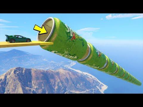 قراند 5 : باركور منحدر من العلب 🐸🐸 GTA 5 Online - Mega Ramp Cans Parkour