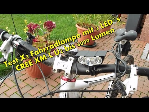Test 6000 Lumen mit 3 LEDs, CREE XM-L U2 X3 Fahrradlampe, Fahrradbeleuchtung, Scheinwerfer