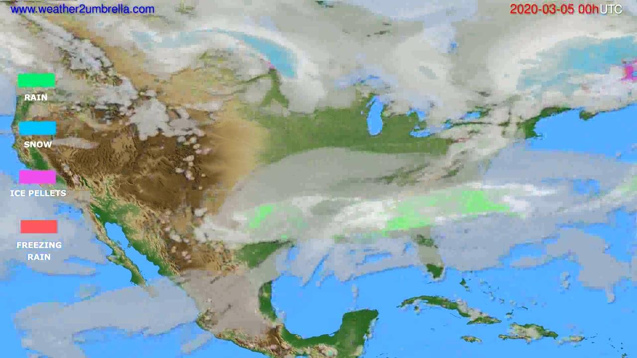Precipitation forecast USA & Canada // modelrun: 00h UTC 2020-03-04