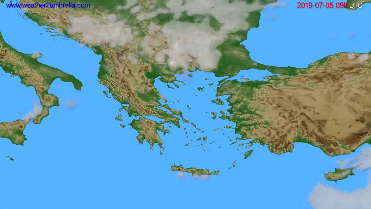 Cloud forecast Greece // modelrun: 12h UTC 2019-07-03