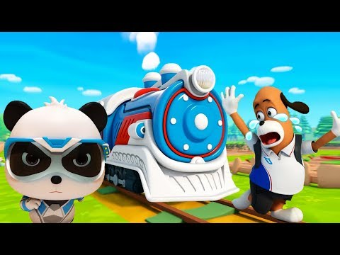 Super Rescue Team On The Railroad | Super Panda Cartoon | Super Train | Kids Song | BabyBus (видео)