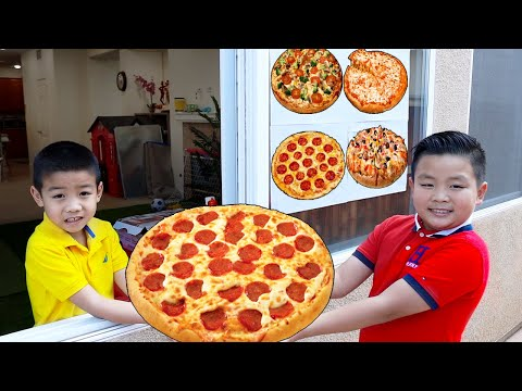 Alex and Eric Pretend Play Pizza Drive Thru Restaurant | Funny Food Toys Story for Kids