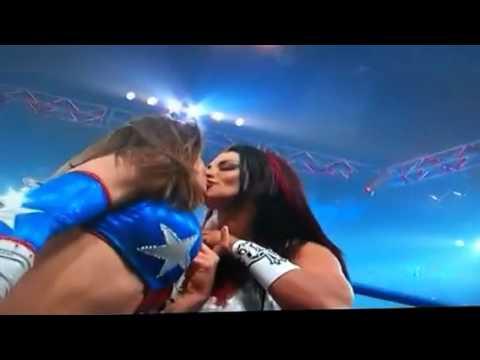 WWE divas kissing each other