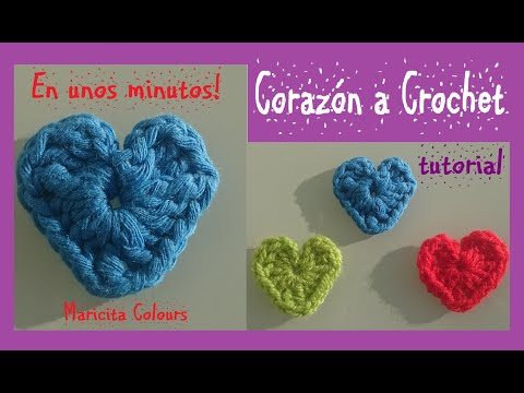 Corazones A Crochet Super Fácil!/Ganchillo  Por Maricita Colours Tutorial Gratis!