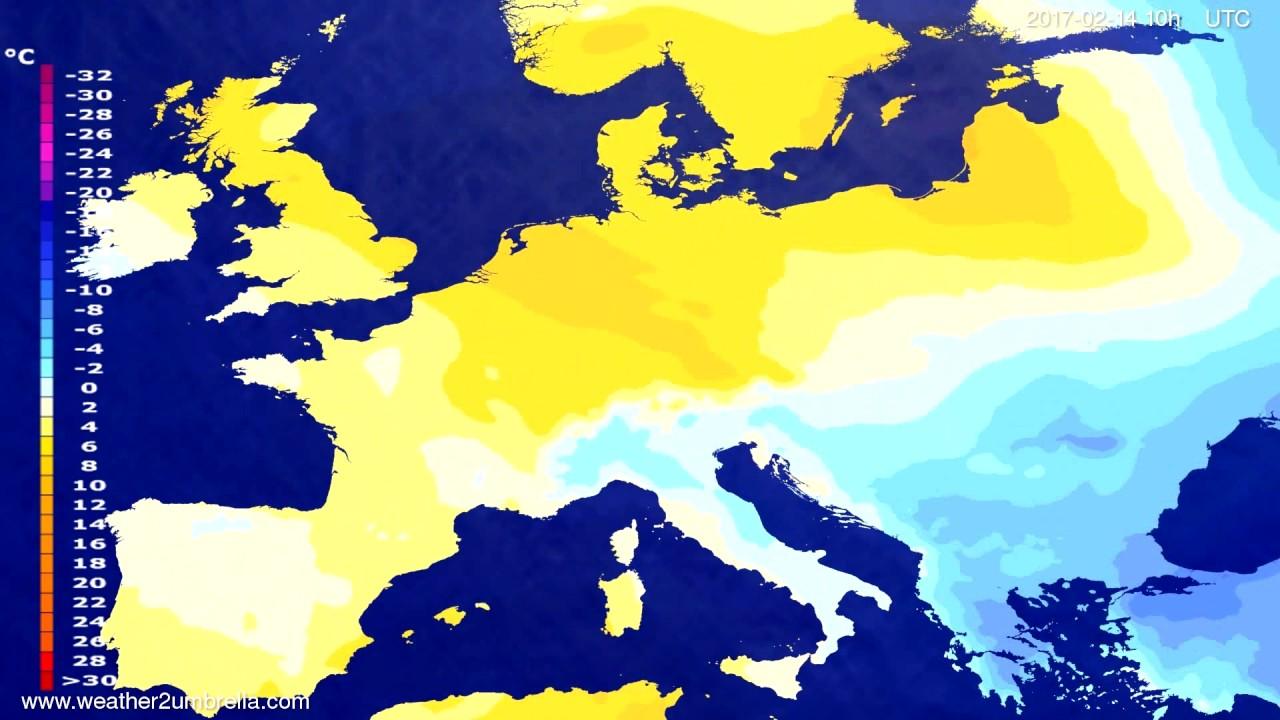 Temperature forecast Europe 2017-02-12