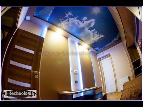 Sufit napinany z nadrukiem-zdjęciem, piękna sypialnia, montaż sufitów