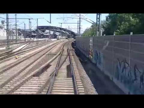 Führerstandsmitfahrt durch den Erfurter Hbf und dur ...