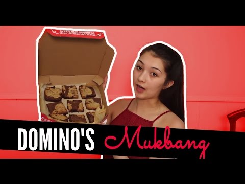 DOMINOS PIZZA WITH COOKIE BROWNIES | Mukbang