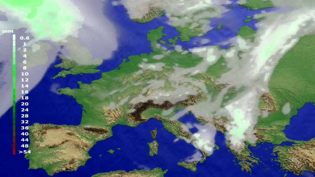 Precipitation forecast Europe 2016-08-04