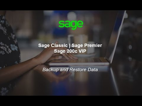 Sage Classic and Sage Premier - Backup and Restore of Data