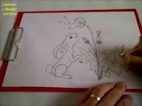 Zeichnen lernen für Anfänger Häschen mit Blumen (Löwenzahn)